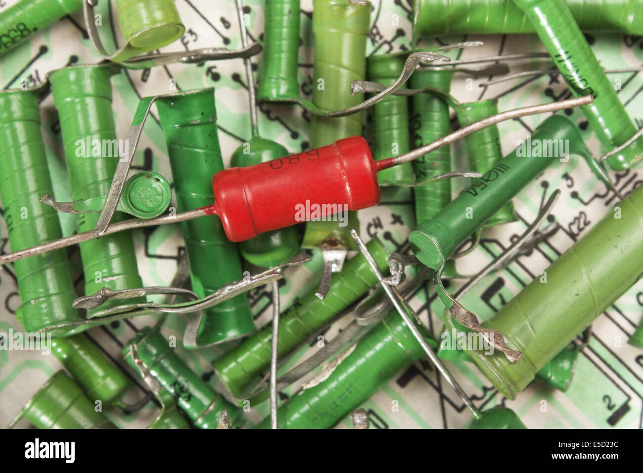 Old Electronic Components Stock Photos Electron Tube Industrial Wiring Diagram Lie On The Image
