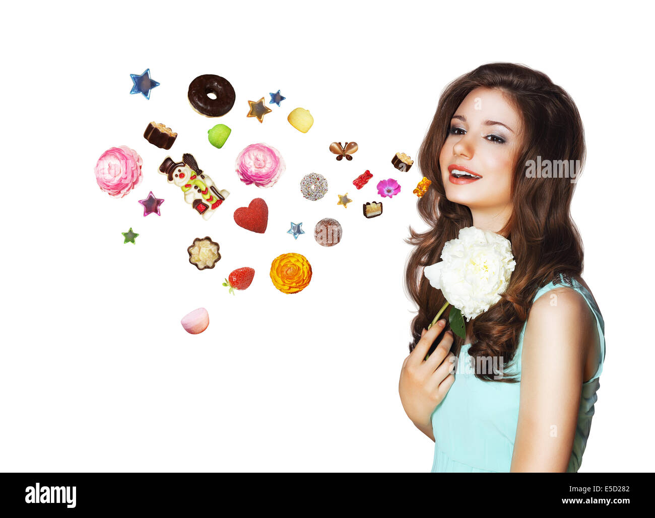 Imagination. Funny Woman Dreams about Different Things - Stock Image