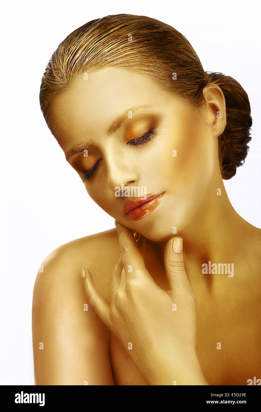 Tenderness. Dreamy Sophisticated Woman with Closed Eyes in Reverie - Stock Image
