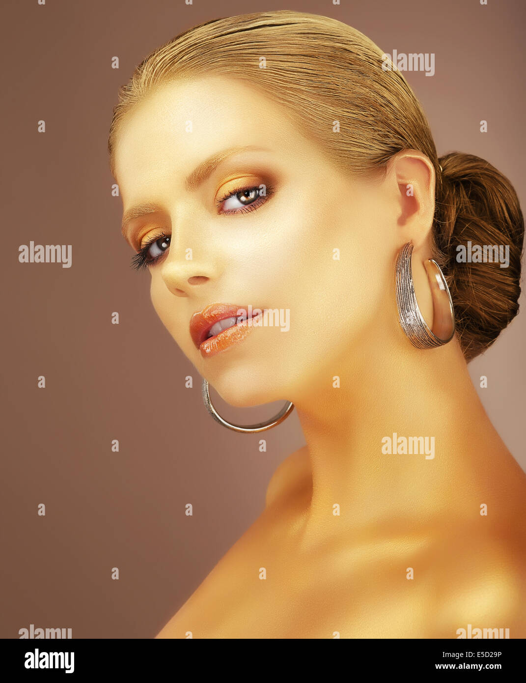 Sophistication. Portrait of Noble Aristocratic Lady with Earrings - Stock Image