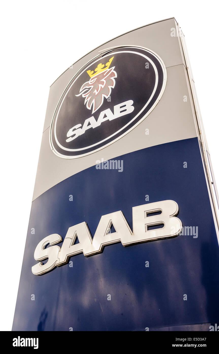 Sign at a Saab car dealership. - Stock Image