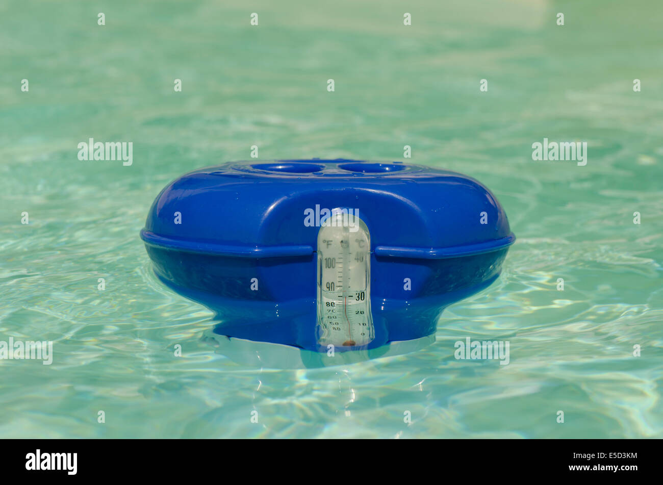 Chlorine container in pool with build in thermometer. Stock Photo