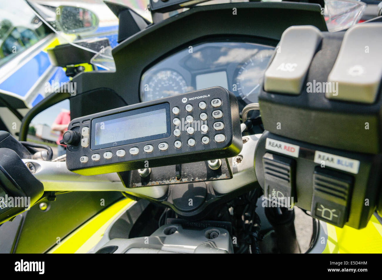 Motorola secure radio on a police motorcycle - Stock Image