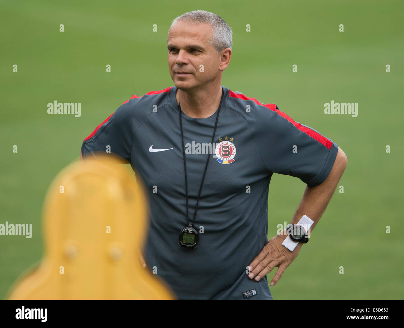 prague, czech republic. 28th july, 2014. ac sparta praha coach stock