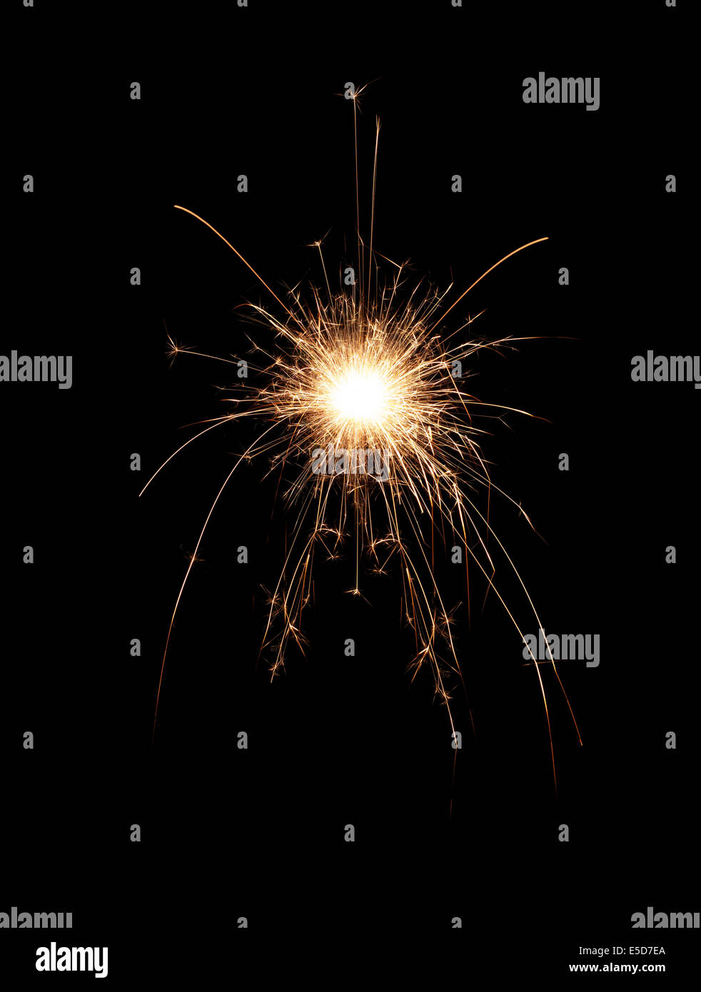 A spark on a black background - Stock Image