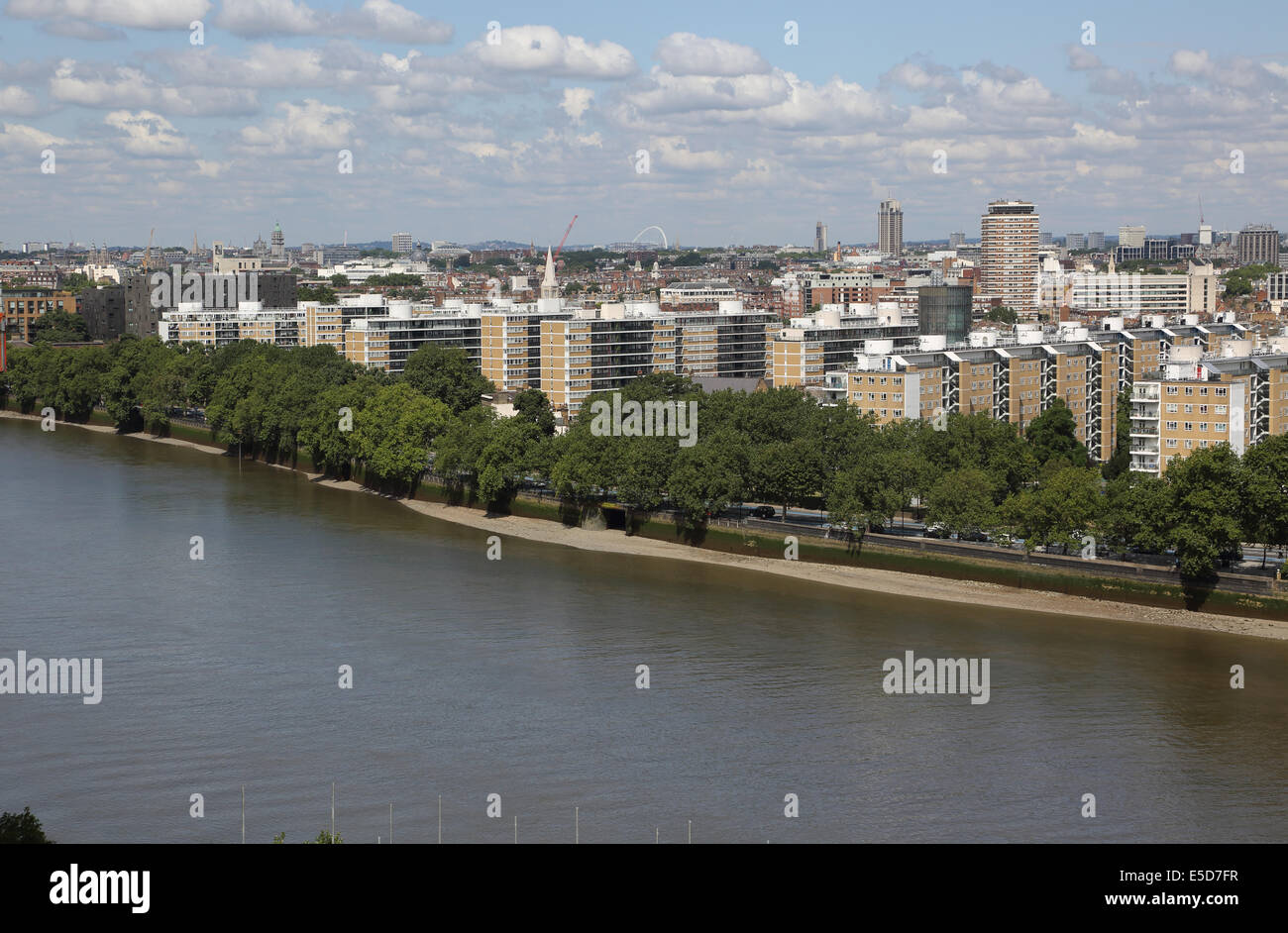 Churchill Gardens housing estate in the Pimlico district of Westminster, London, viewed from across the River Thames. Stock Photo