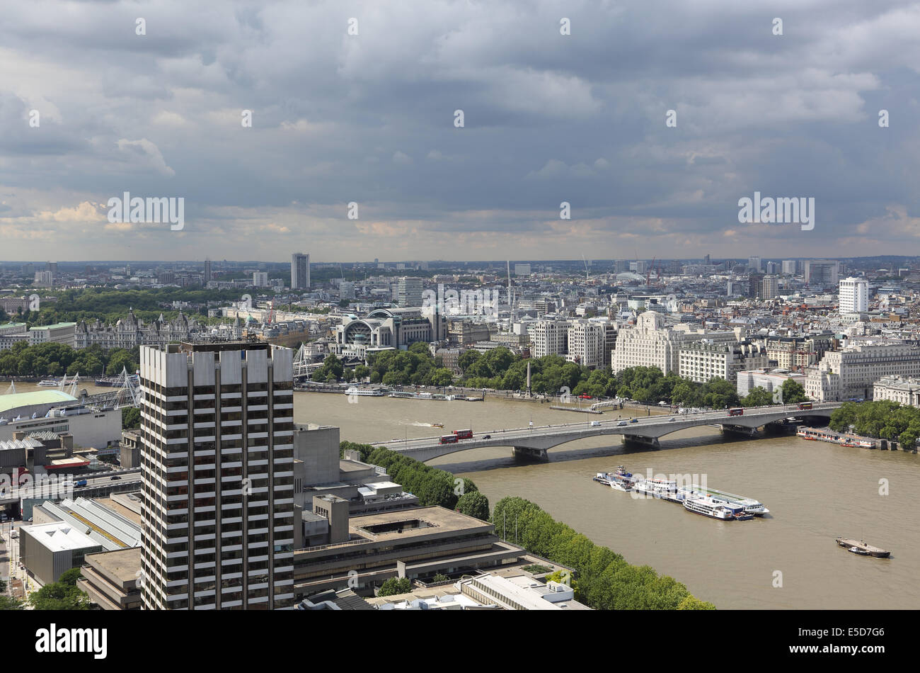 High level view of the River Thames and Waterloo Bridge from Southbank Tower. ITV Studios Tower to left. - Stock Image