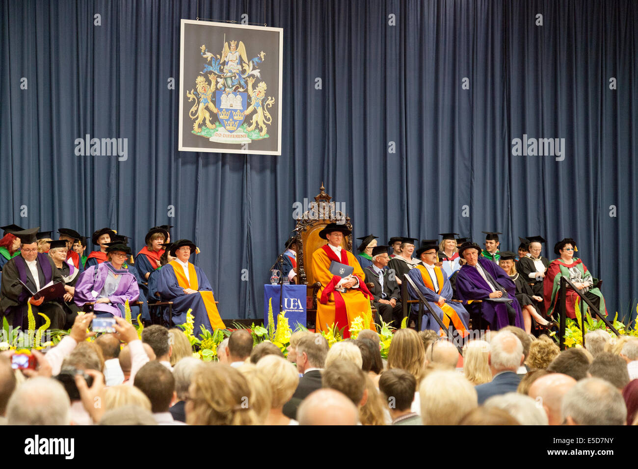 The University Fellows, Dons and Vice Chancellor at the Graduation ceremony, UEA ( University of East Anglia ), - Stock Image