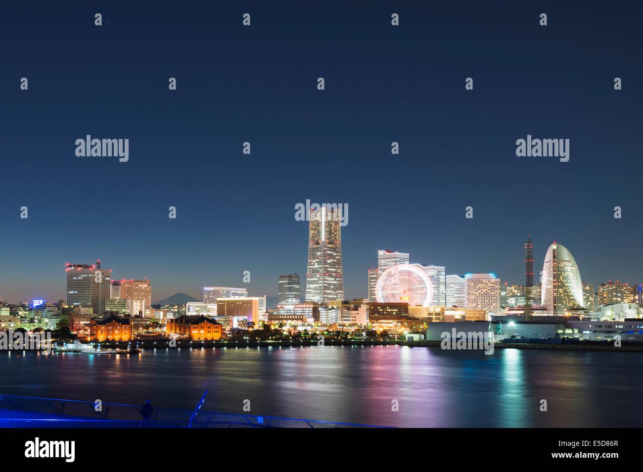 Asia; Japan; Honshu; Yokohama Bay and skyline - Stock Image
