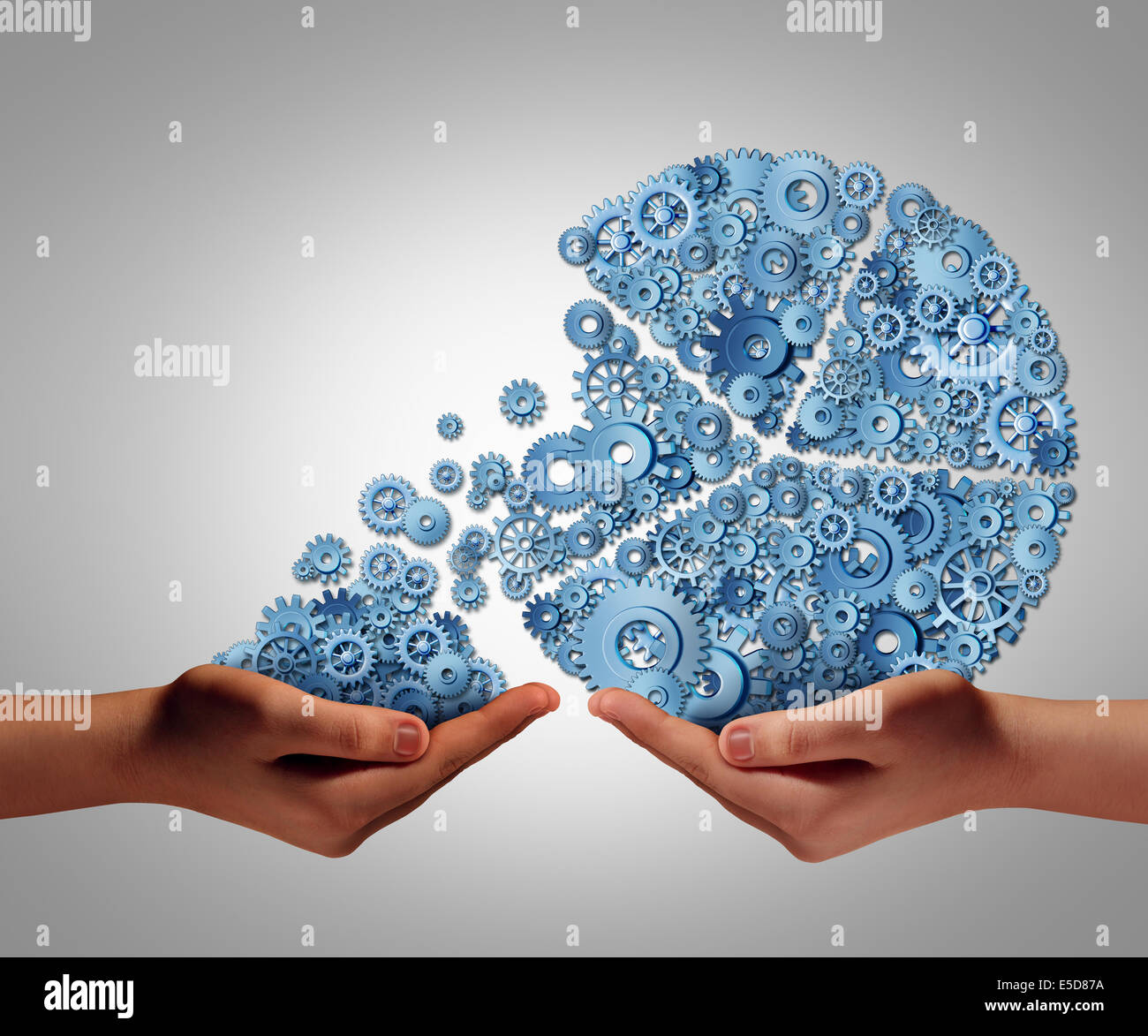 Funding and development concept as a human hand giving or taking investment from a business pie chart made of mechanical - Stock Image