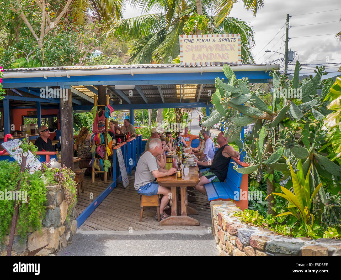 Shipwreck Landing Restaurant in Coral Bay on the Caribbean island of St John in the US Virgin Islands - Stock Image