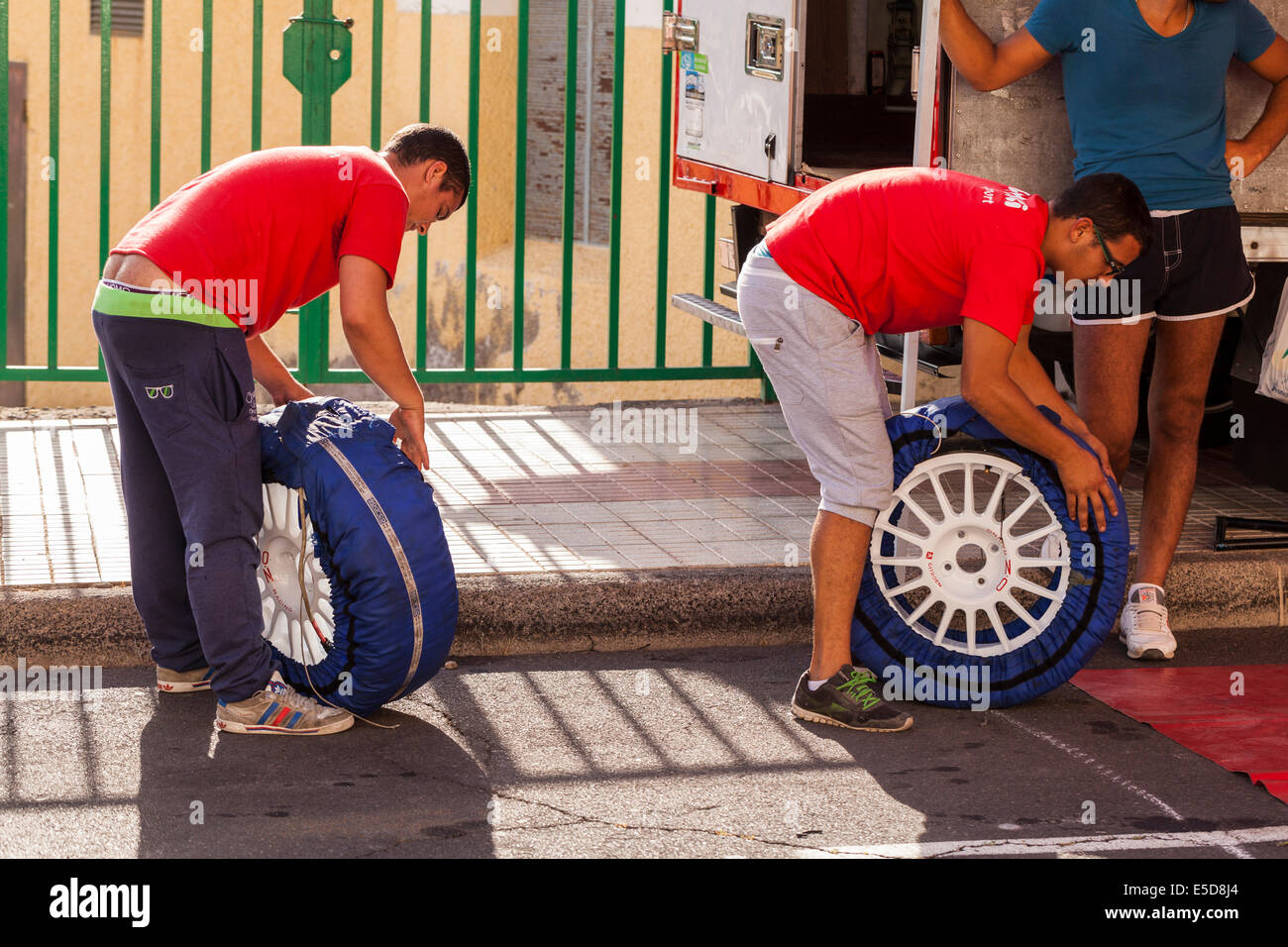 Subida a Guia rally day, pit work, and preparations for the rally. Playa San Juan, Tenerife, Canary Islands, Spain. - Stock Image