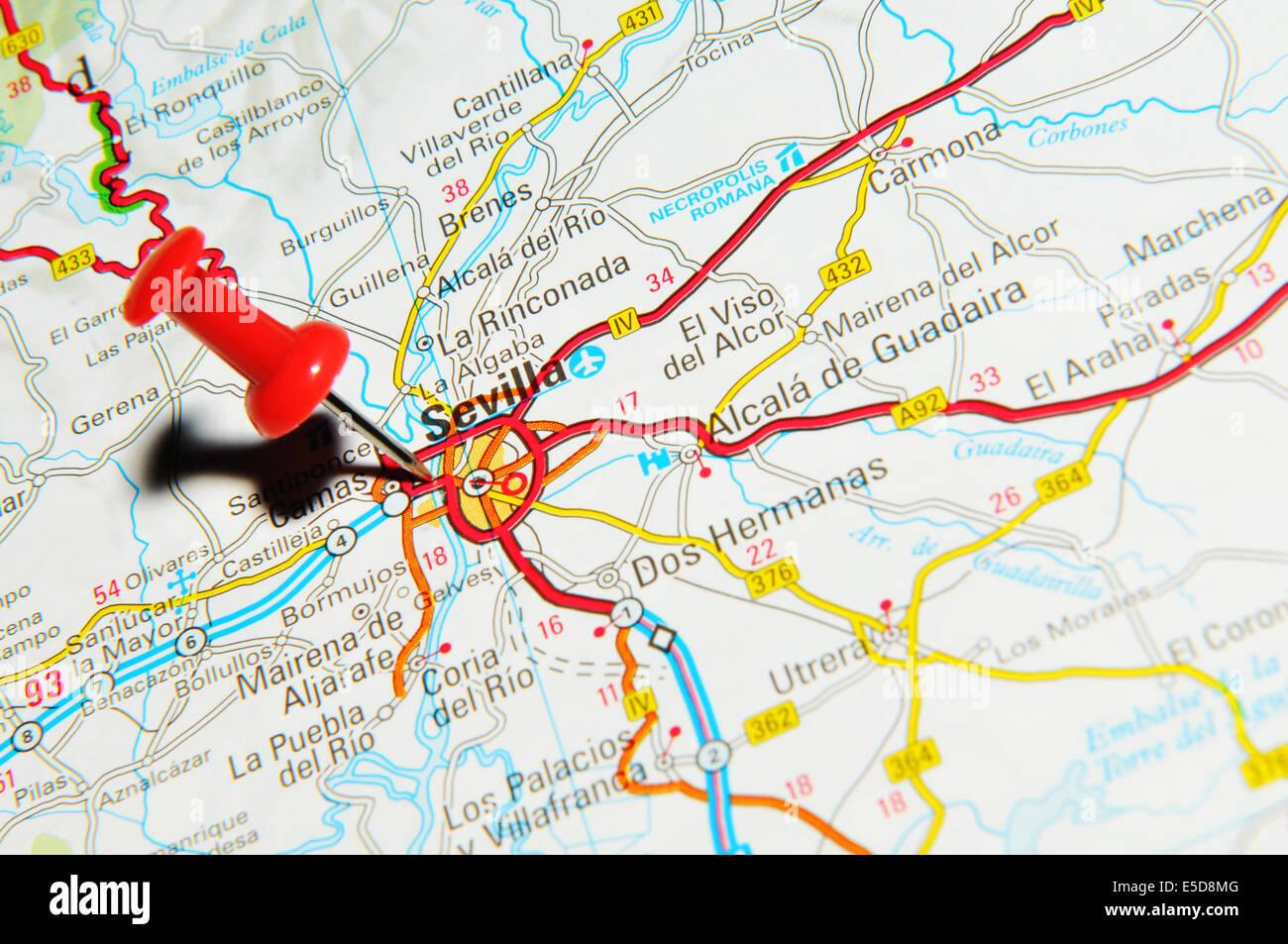 Sevilla on map Stock Photo: 72206976 - Alamy