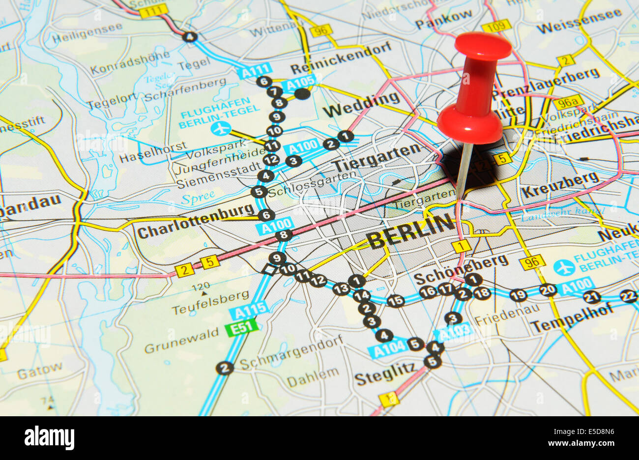 Berlin On Map Stock Photos & Berlin On Map Stock Images - Alamy
