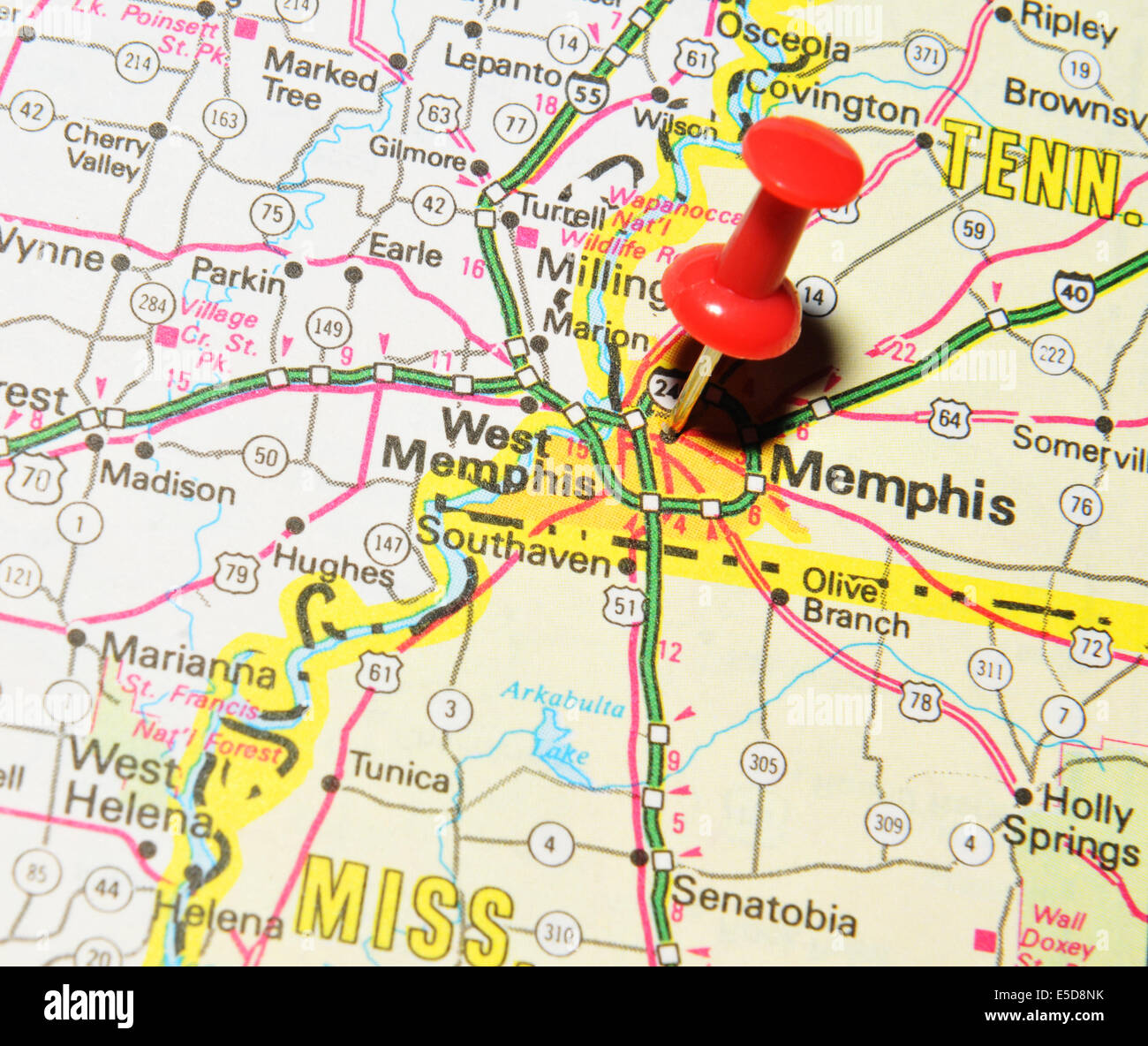Memphis Pinned On Map Usa Stock Photos & Memphis Pinned On Map Usa