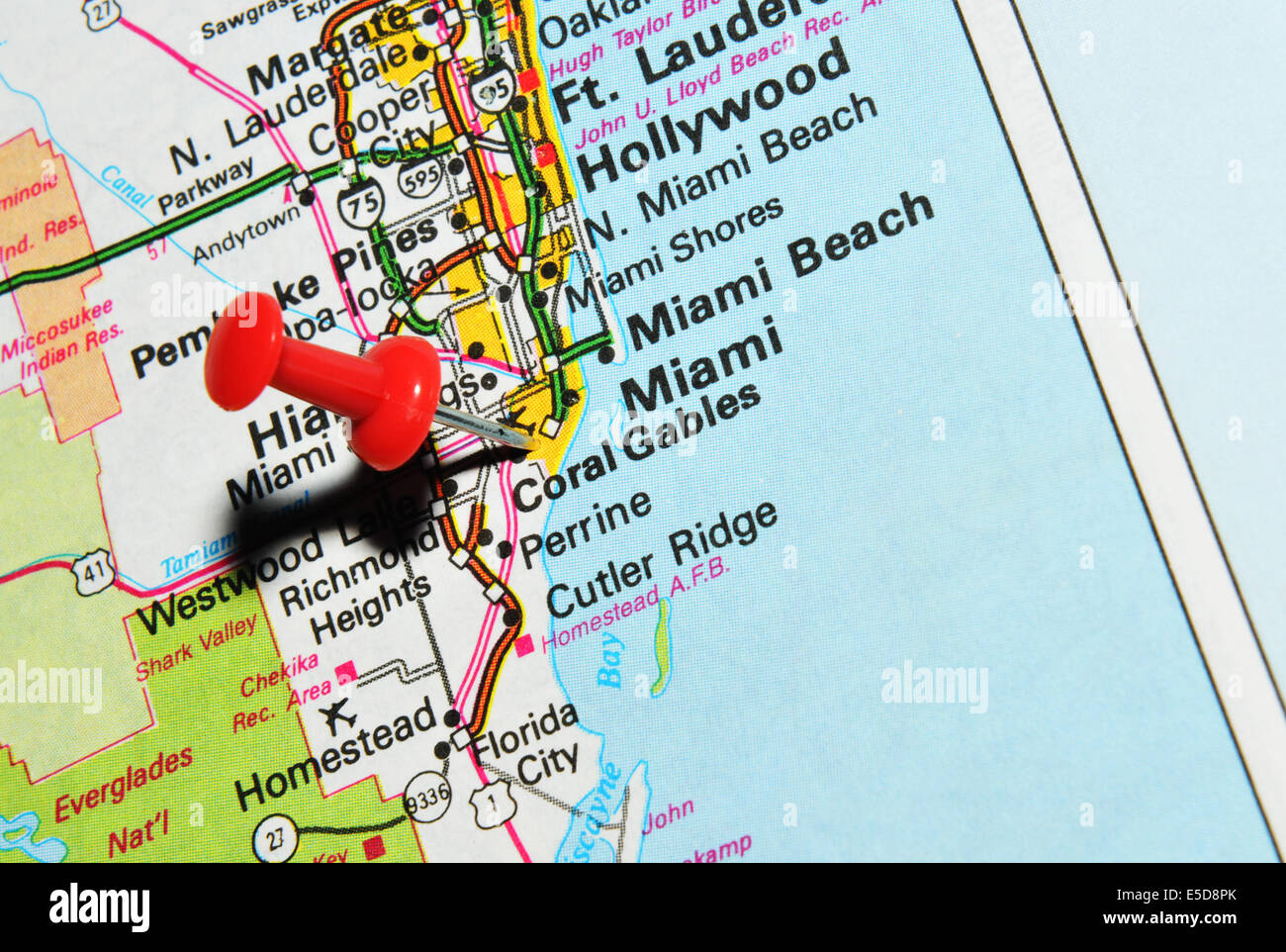 miami on us map stock photo: 72207035 - alamy