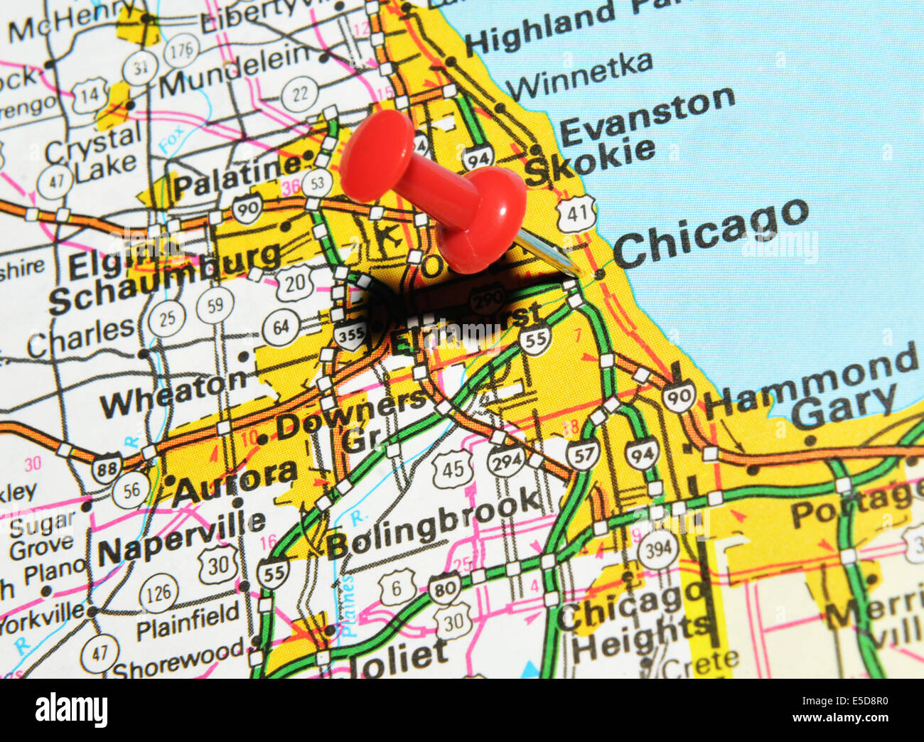 Chicago Location In Us Map.Chicago On Us Map Stock Photo 72207044 Alamy