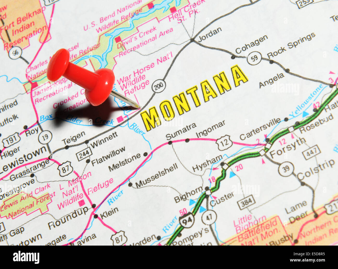 Montana On Us Map Stock Photo 72207049 Alamy