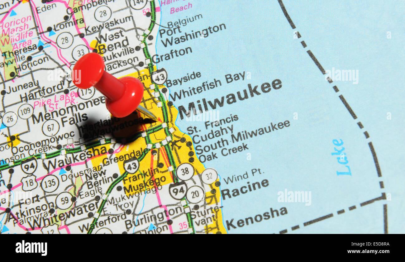 Milwaukee On Us Map Stock Photo 72207054 Alamy