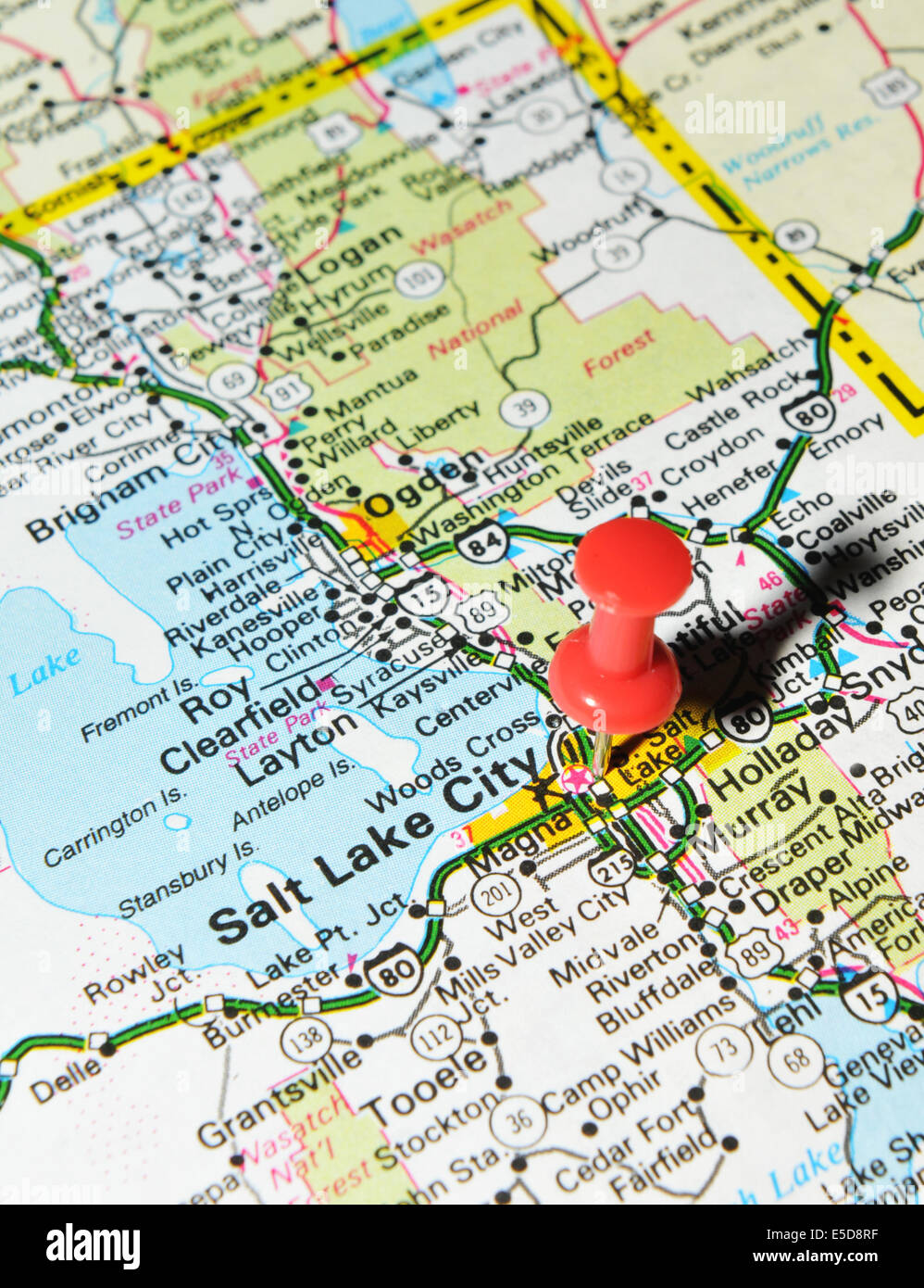 Salt Lake City On Us Map.Salt Lake City On Us Map Stock Photo 72207059 Alamy