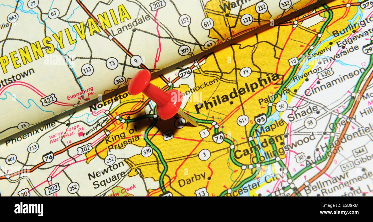 Philadelphia On The Us Map.Philadelphia On Us Map Stock Photo 72207064 Alamy