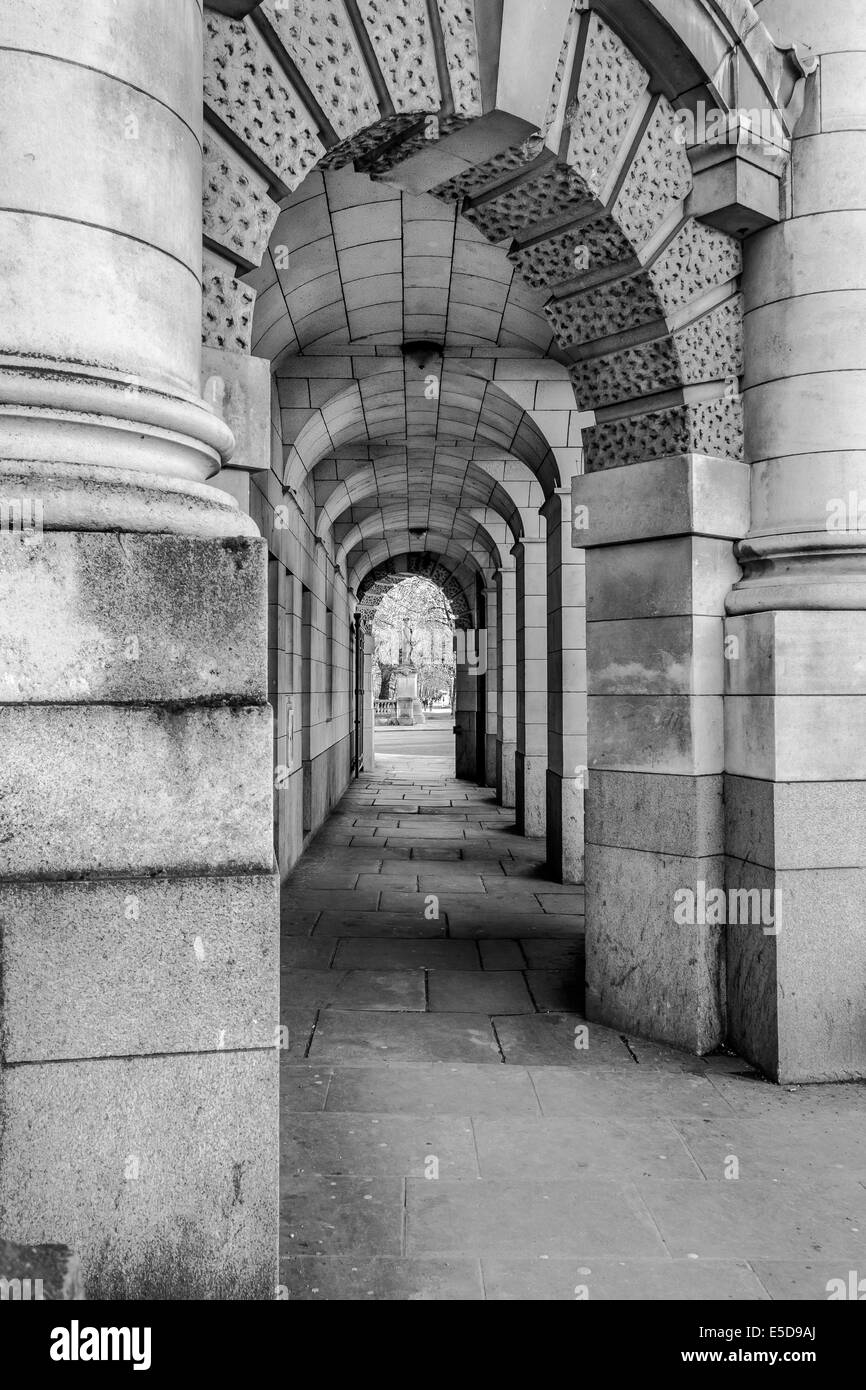 Archway showing pedestrian access through Admiralty Arch, London, UK - Stock Image