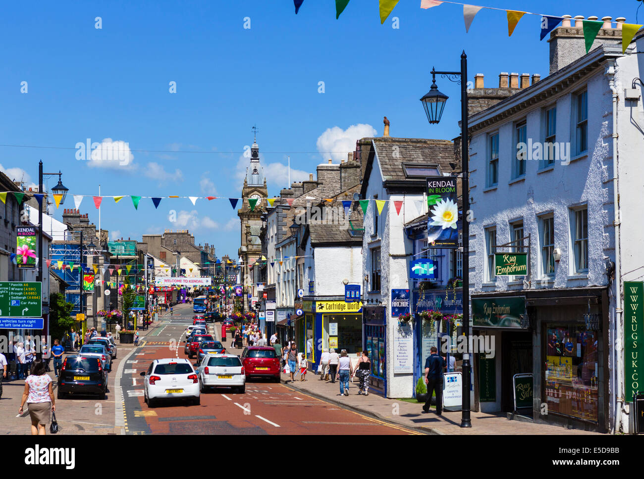 Highgate in the centre of Kendal, Lake District, Cumbria, UK - Stock Image