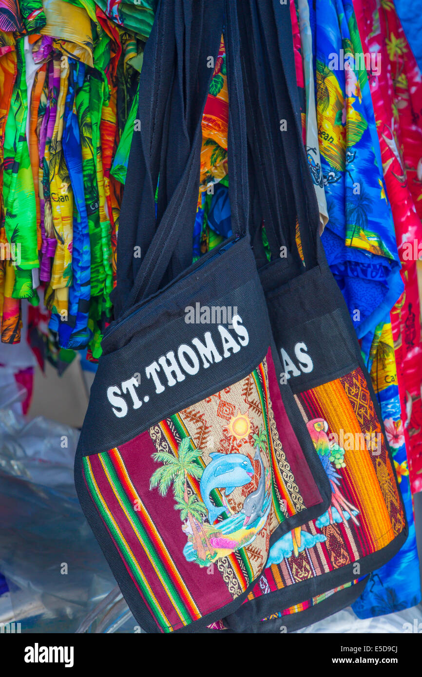 Souvenir bag in Vendors Plaza in Charlotte Amalie on the Caribbean island of St Thomas in the US Virgin Islands - Stock Image