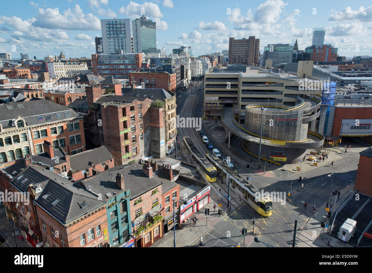 A view of Shudehill, High Street, Withy Grove, Northern Quarter, Arndale and the city centre skyline of Manchester. - Stock Image