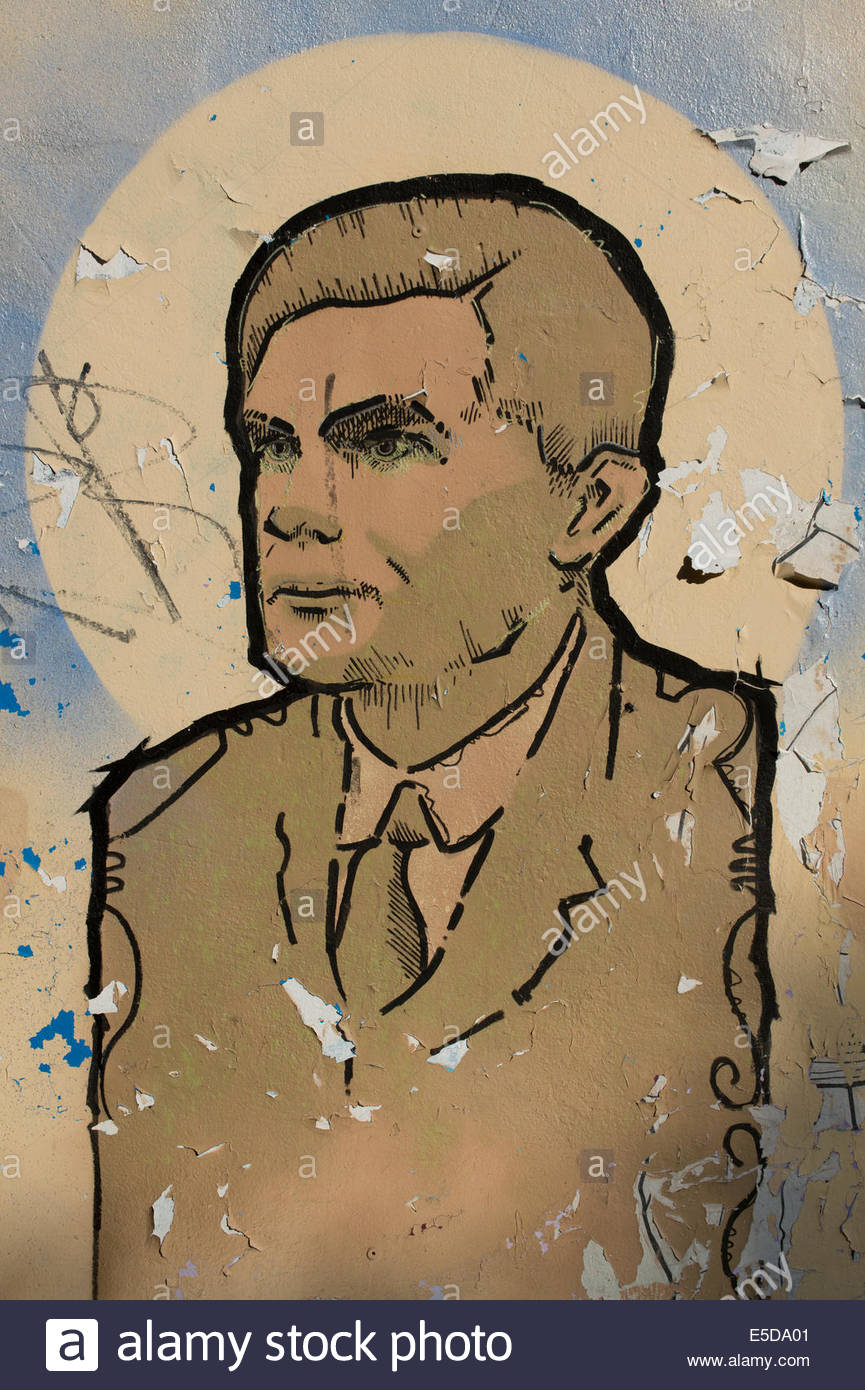 Some Street art representing Alan Turing OBE FRS in the Northern Quarter area of Manchester city centre. - Stock Image