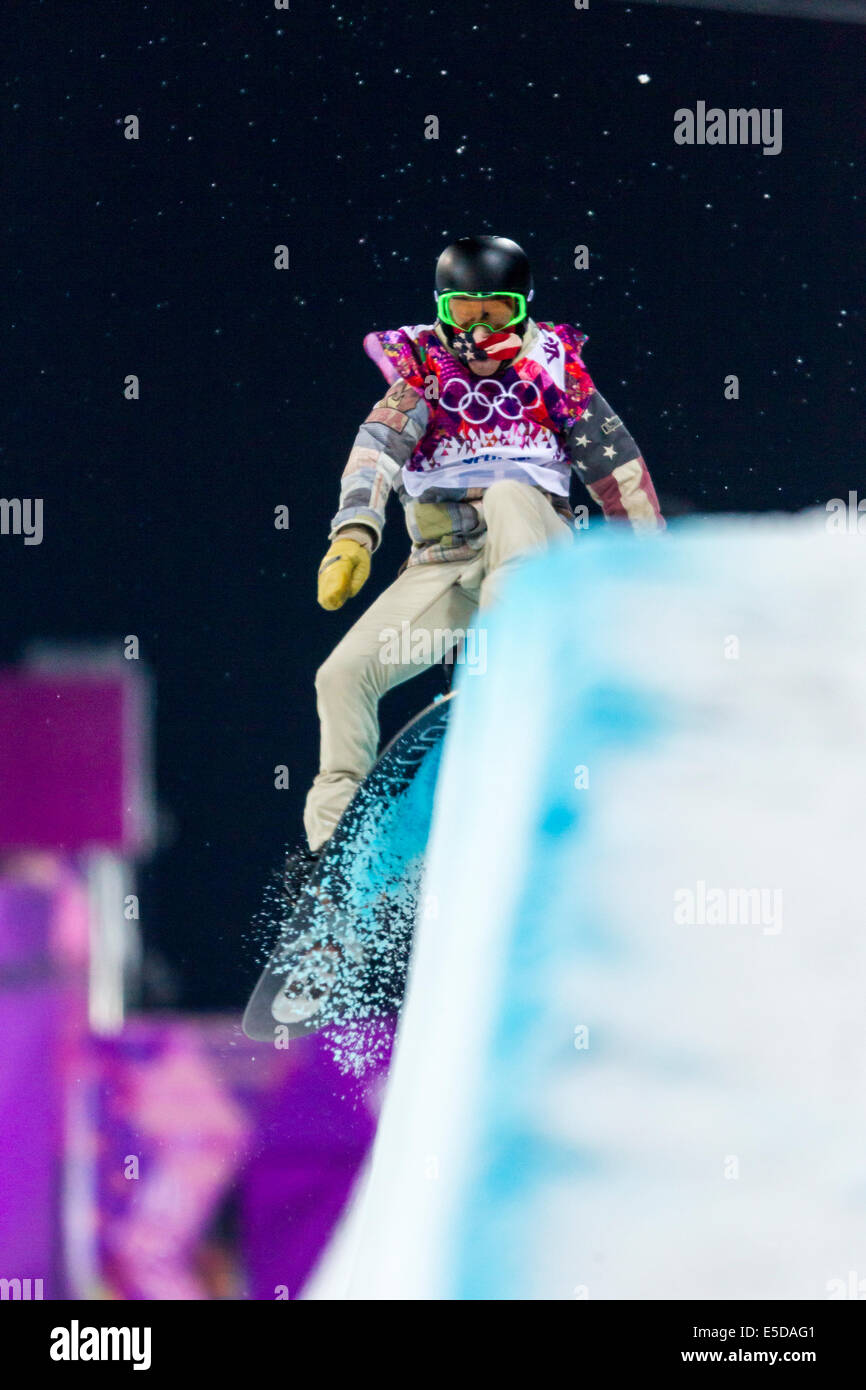 Shaun White (USA) competing in Men's Snowboard Halfpipe at the Olympic Winter Games, Sochi 2014 - Stock Image