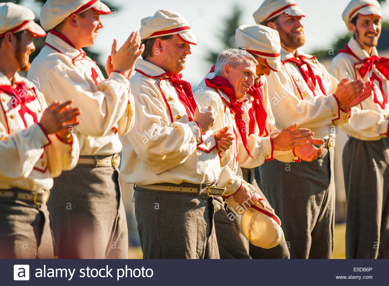 Vancouver, Washington, US. 26th July, 2014. Occidentals pregame player introductions. On May 29, 1867, the Pioneer - Stock Image