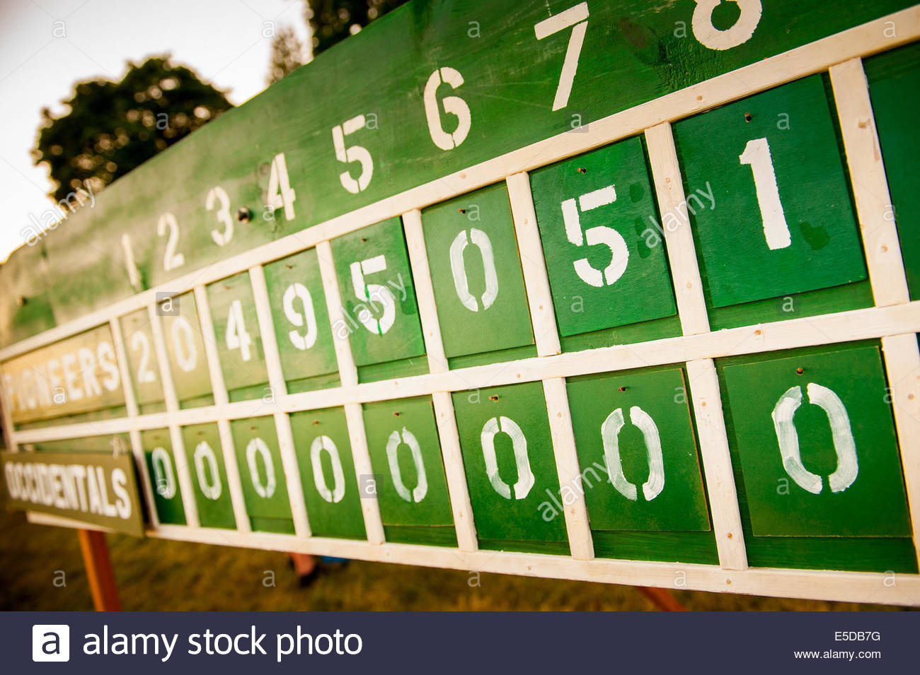 Vancouver, Washington, US. 26th July, 2014. The scoreboard reflects the Occidental's plight. On May 29, 1867, - Stock Image