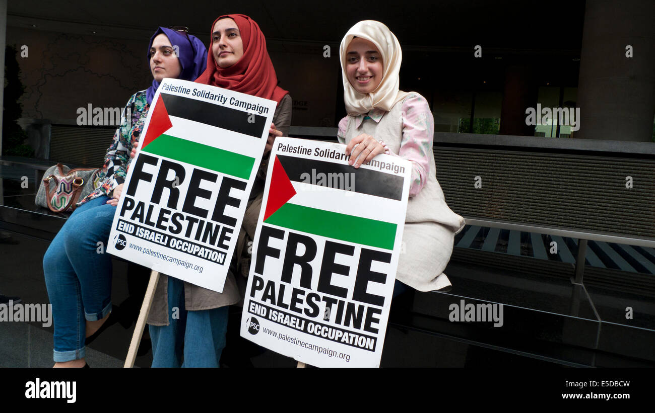 Women demonstrating on the streets of London UK against bombing of Gaza Palestinians by Israel  19.7.2014  KATHY - Stock Image