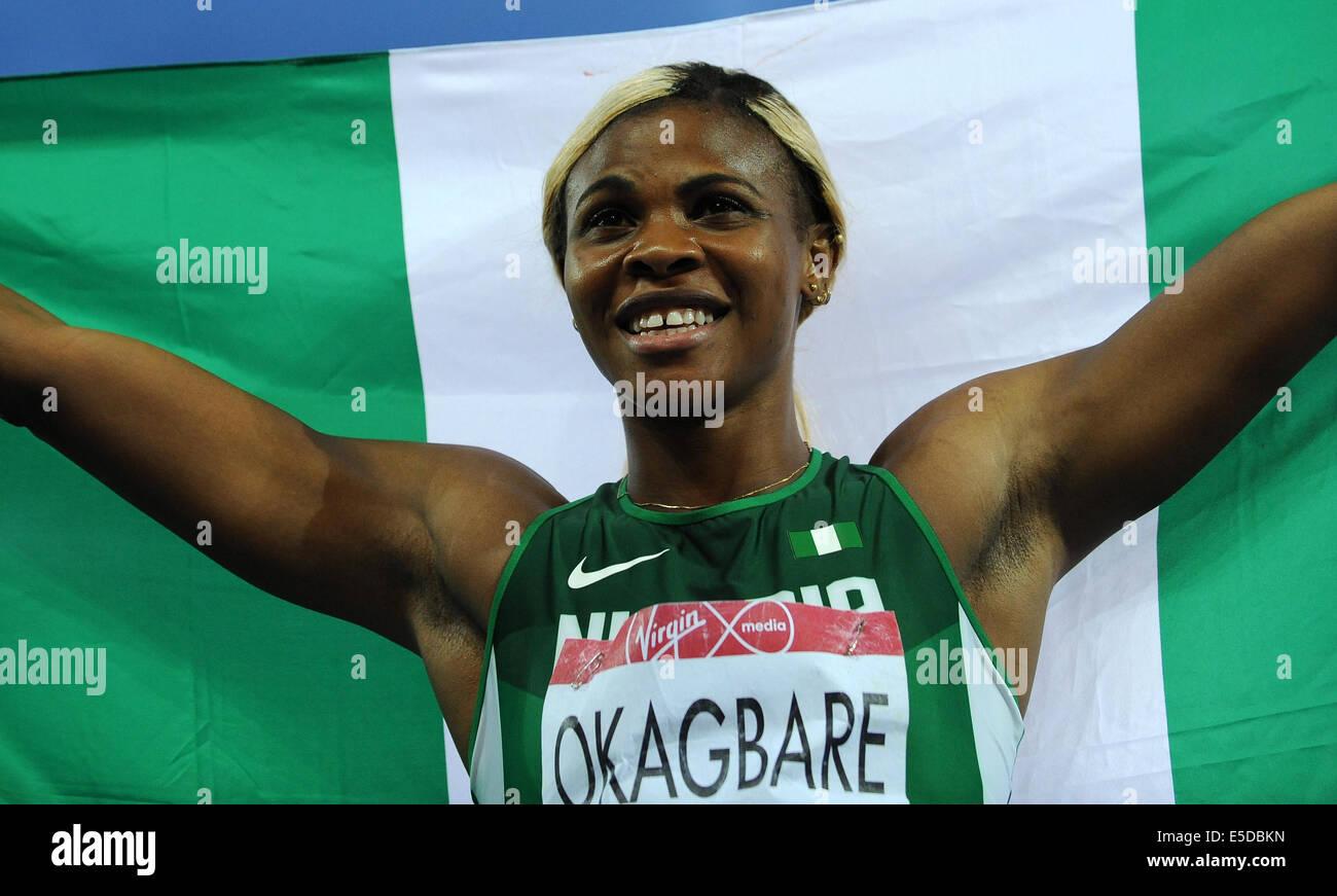 BLESSING OKAGBARE WINS WOMAN'S 100M FINAL HAMPDEN PARK GLASGOW SCOTLAND 28 July 2014 - Stock Image