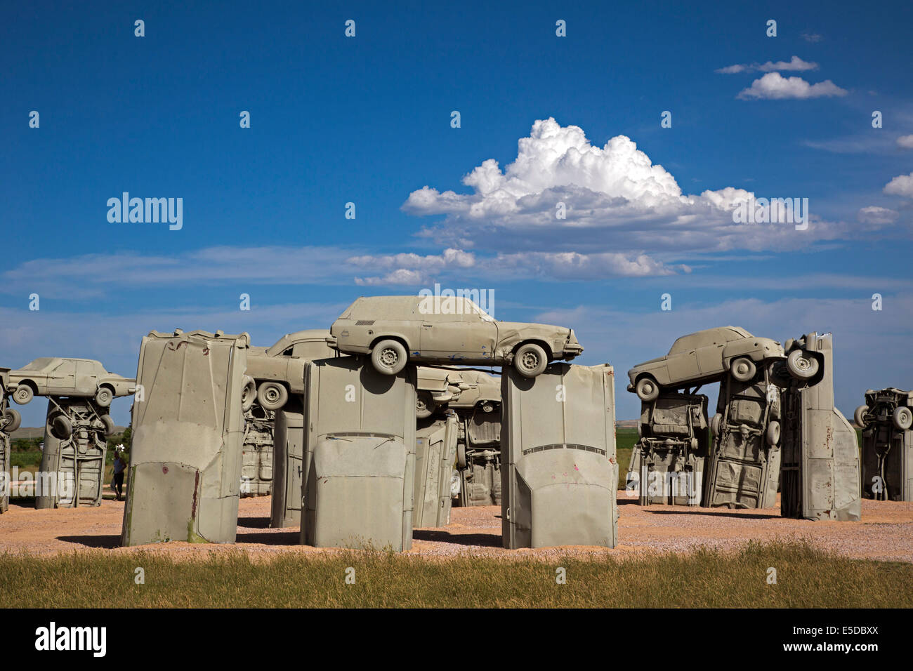 Alliance, Nebraska - Carhenge, a circle of old cars bolted together and half buried in the ground. Stock Photo