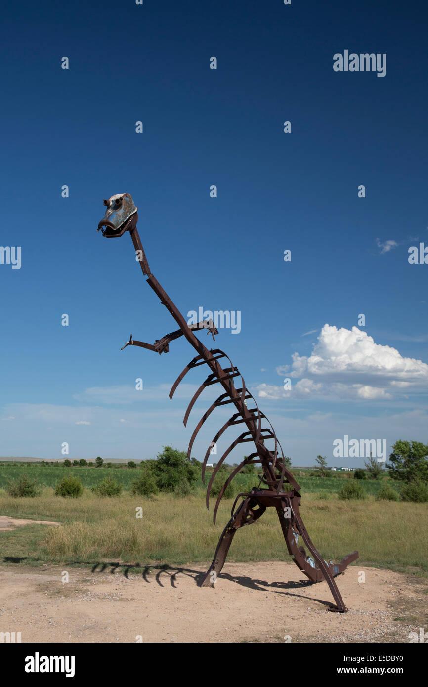 Alliance, Nebraska - A dinosaur sculpture on the Nebraska prairie. Stock Photo