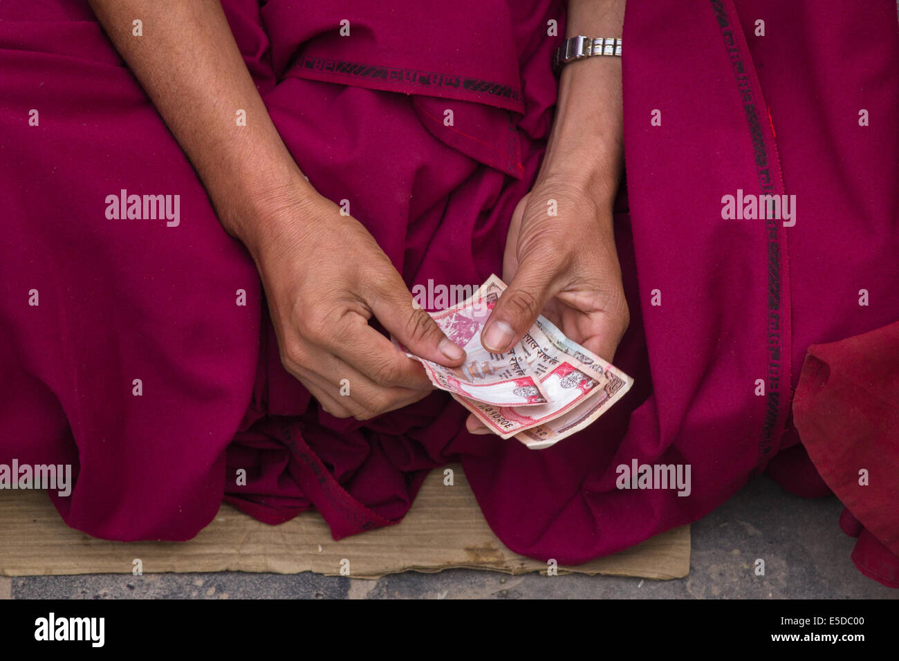 The hands of a buddhist monk, counting money received as alms, early in the morning at the buddhist stupa of Bodnath - Stock Image