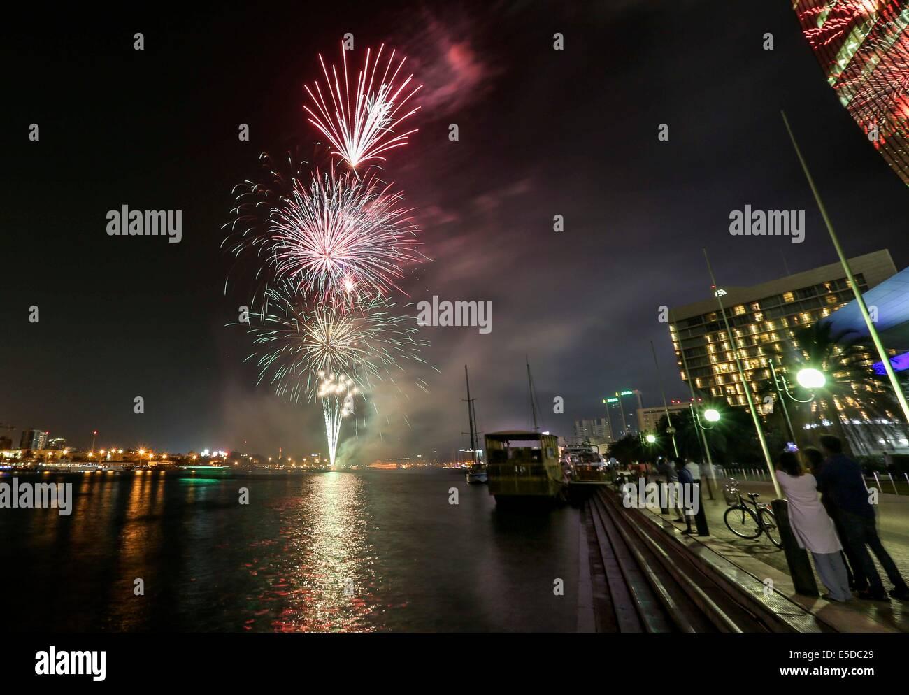 Dubai, United Arab Emirates (UAE). 28th July, 2014. Fireworks are launched at the Dubai Creek to celebrate the Eid Stock Photo