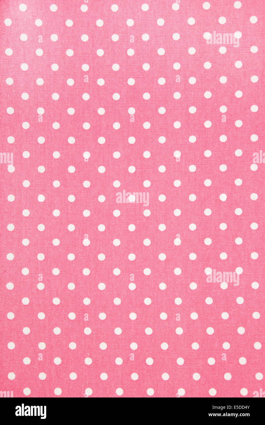 Background Of Pink Kitchen Towel With Polka Dots Stock Photo