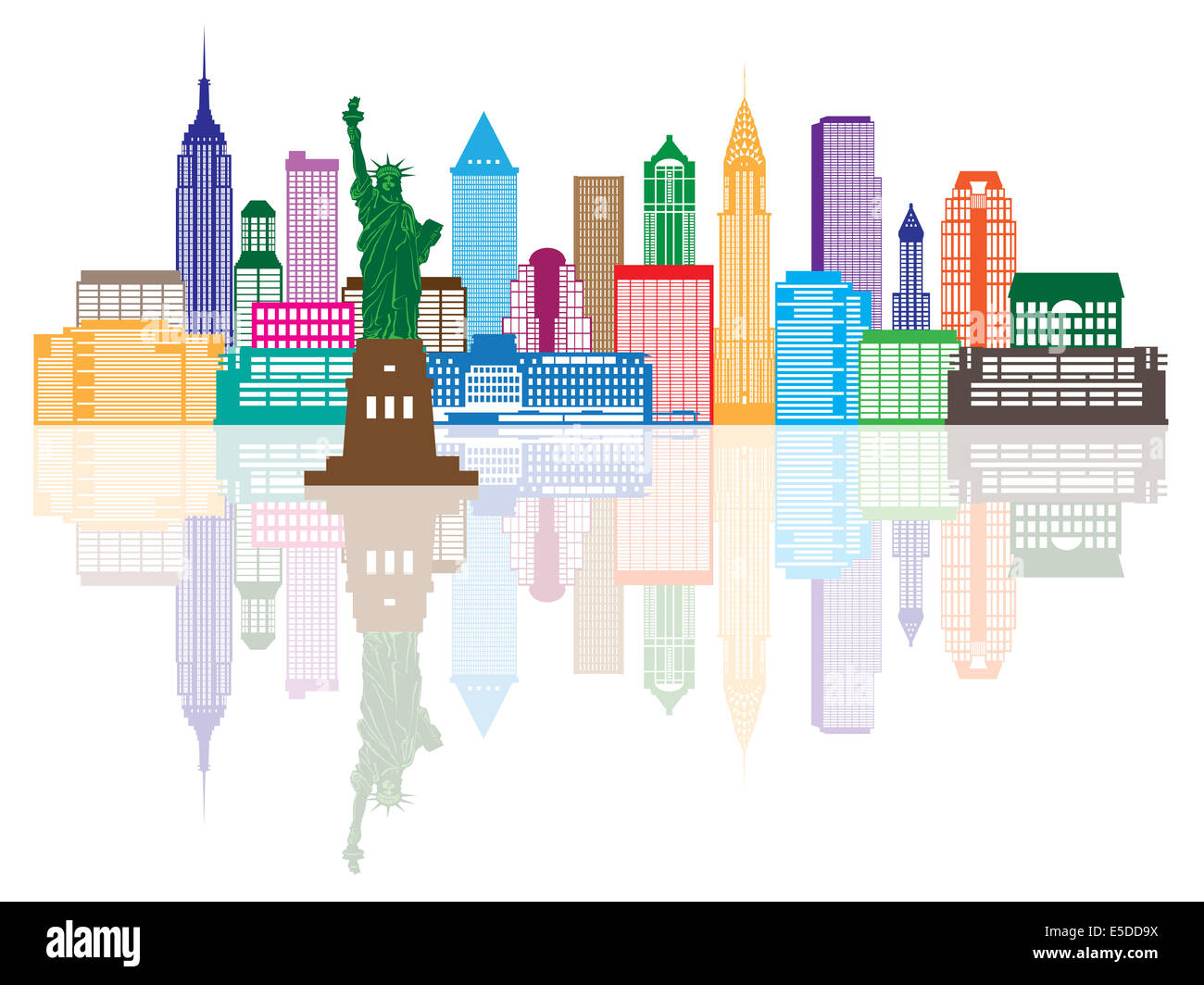 New York City Skyline with Statue of Liberty Color with Reflection Illustration - Stock Image