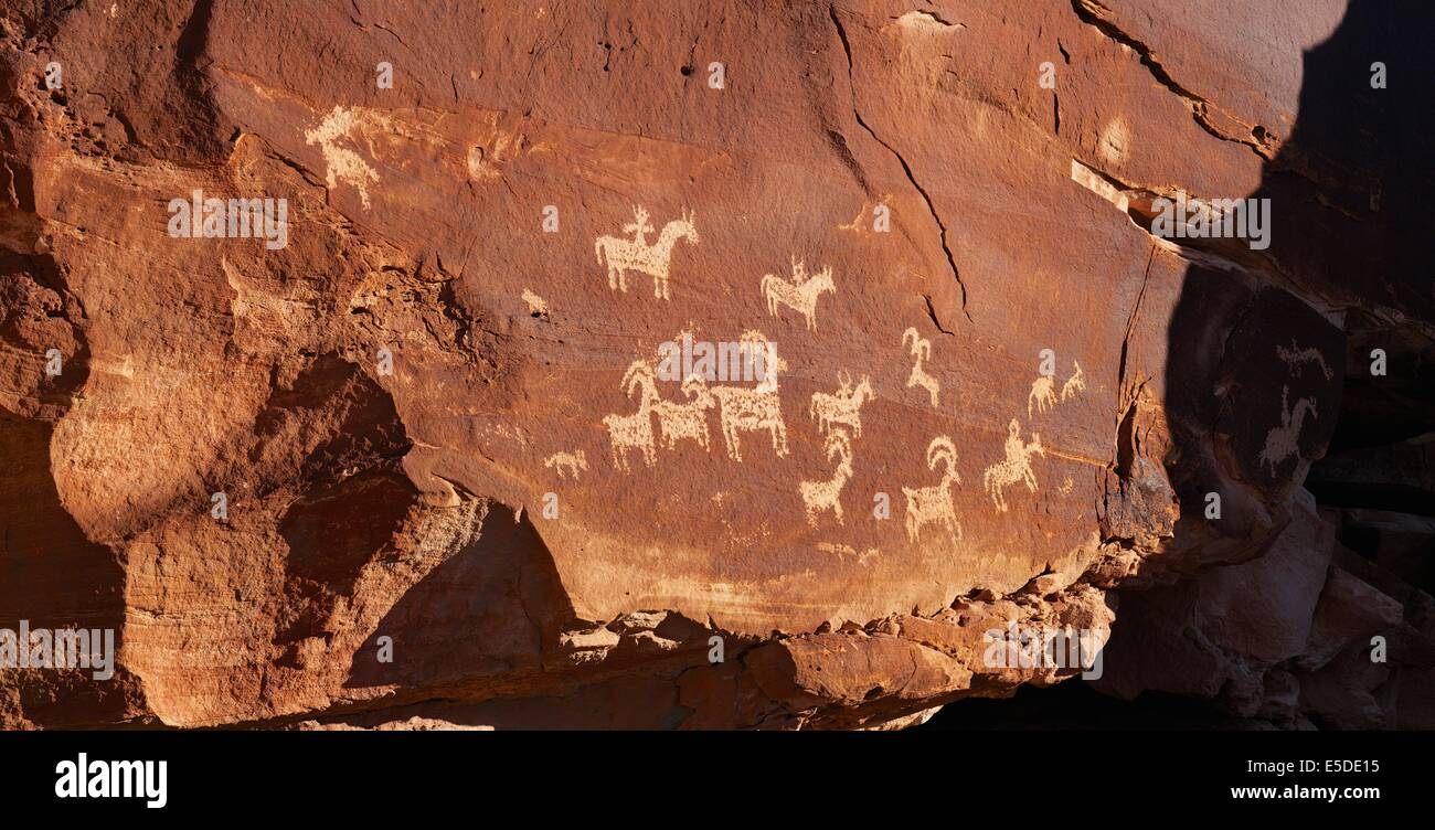 Rock Art near Wolfe Ranch in Arches National Park, Utah - Stock Image
