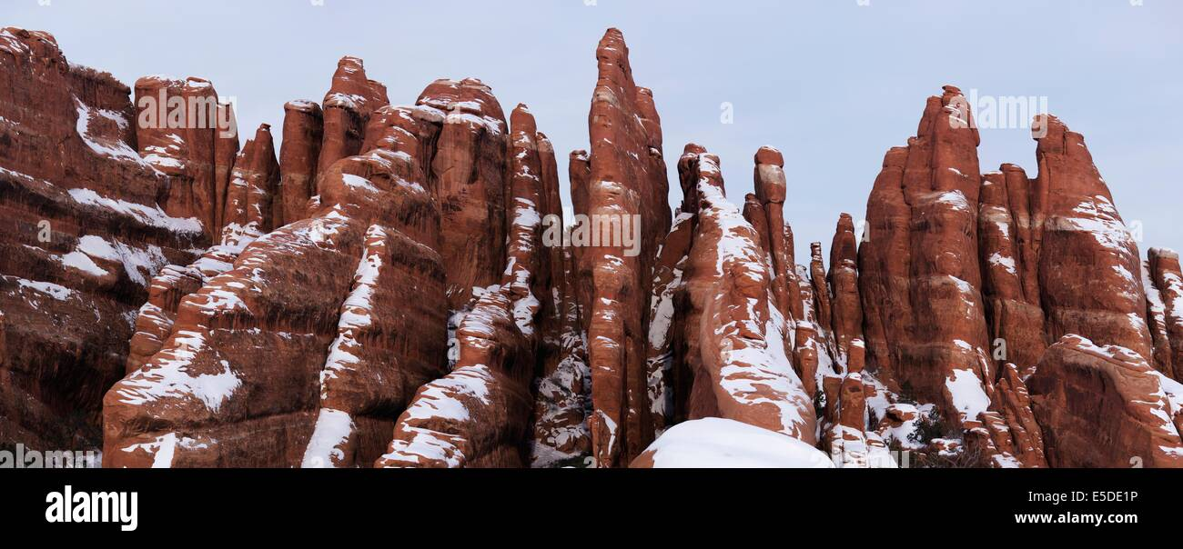 Rock Fins with Snow in Arches National Park, Utah, USA - Stock Image