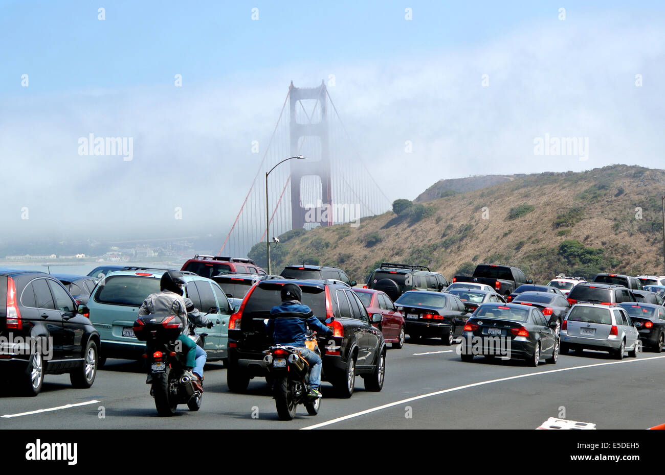 commute traffic from marin county to san francisco backs up at the bridge - Stock Image