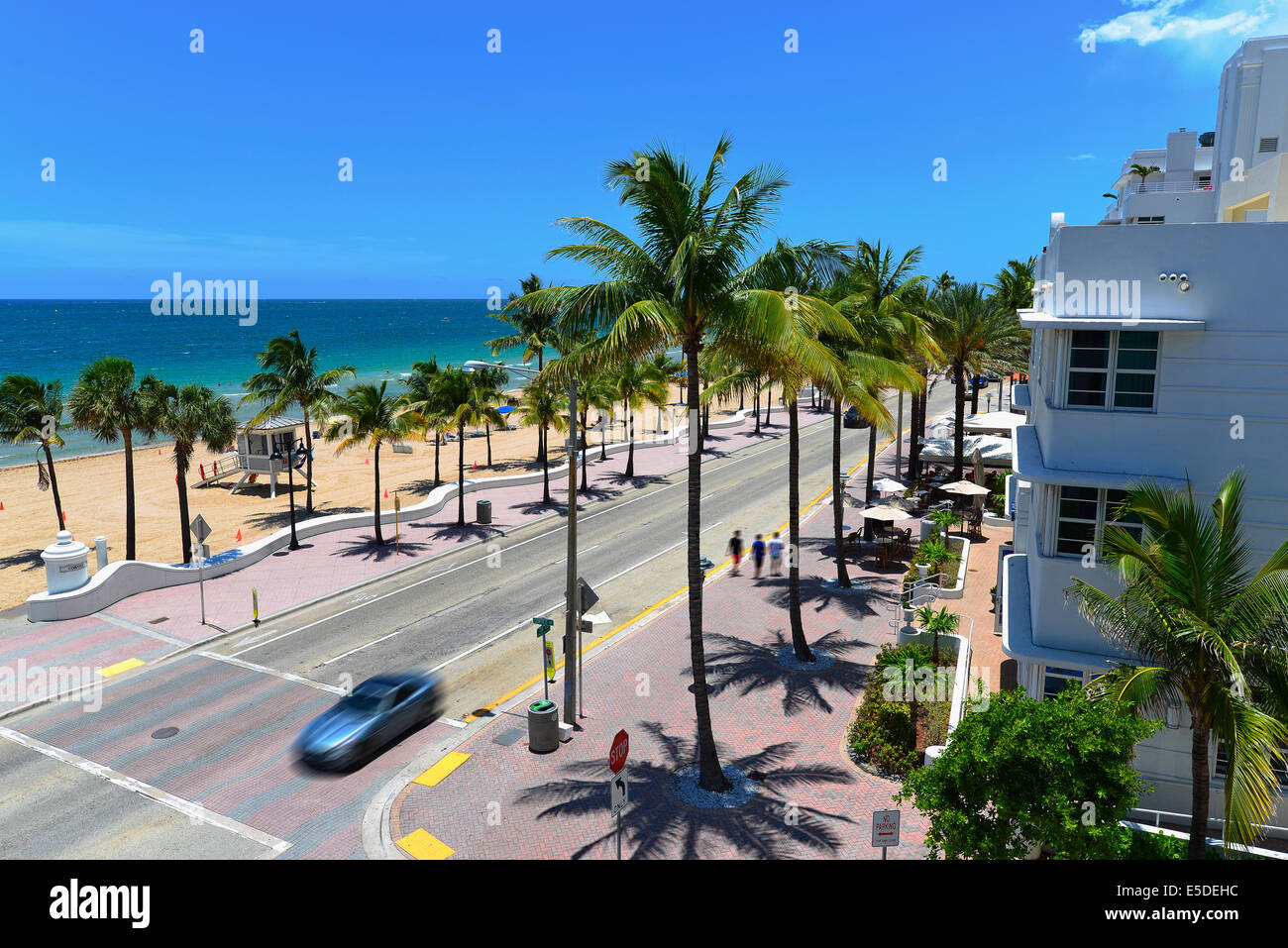 Sunrise Beach in Ft.Lauderdale with palm trees and beach entry feature. Stock Photo