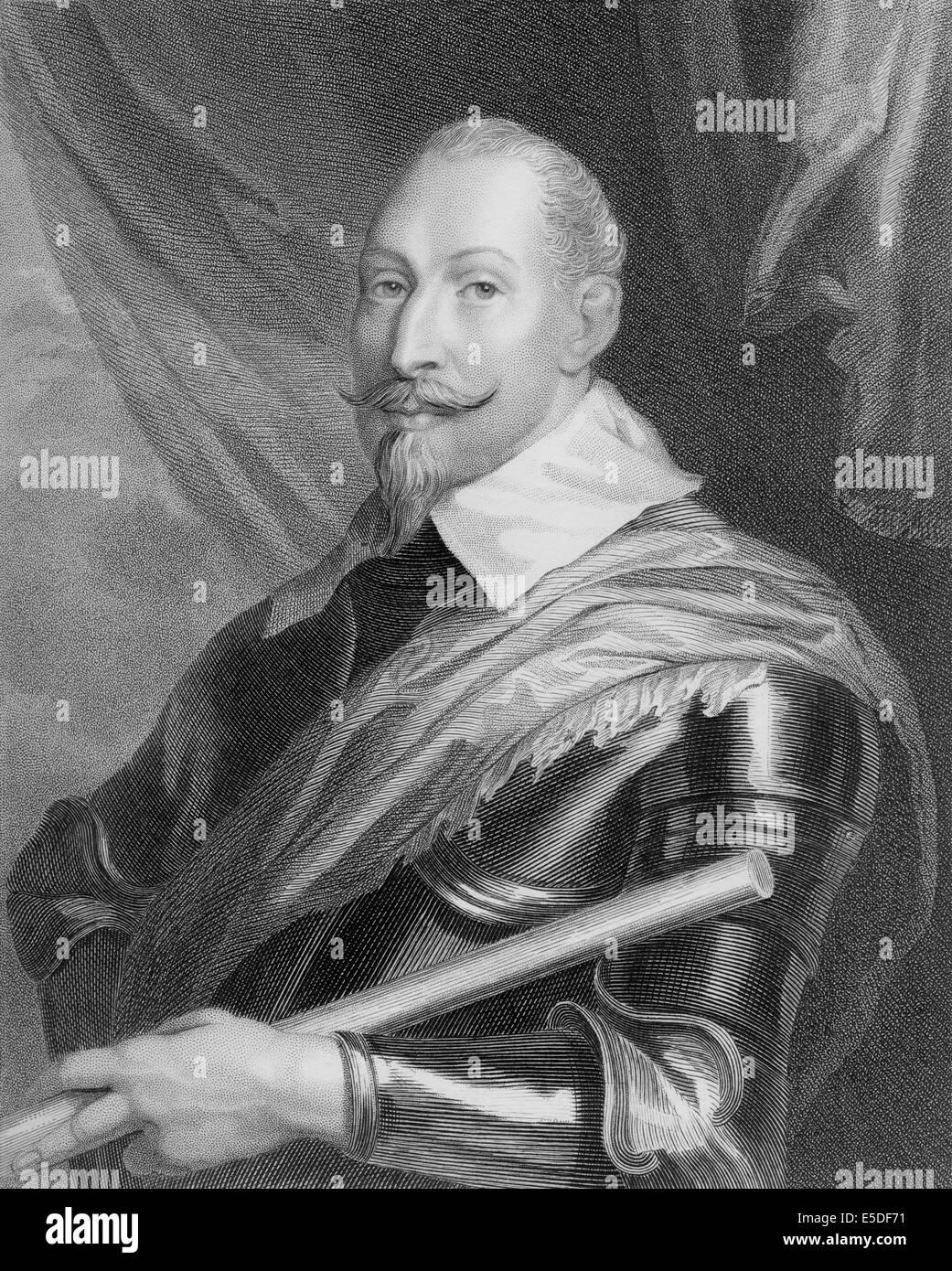 Steel engraving, c. 1860,  Gustav II Adolf, 1594 - 1632, King of Sweden from the ruling family of Vasa - Stock Image