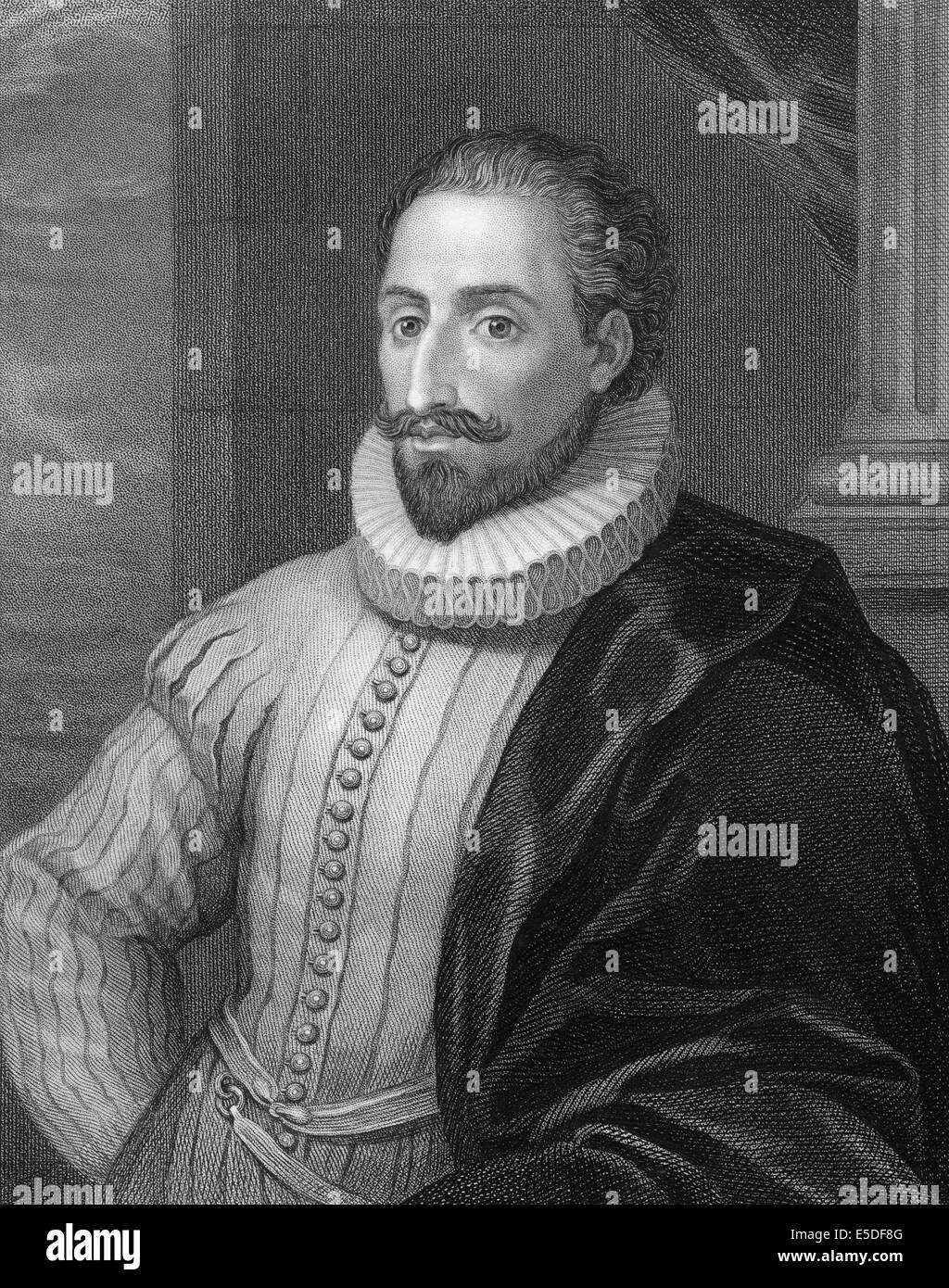 Steel engraving, c. 1860, Miguel de Cervantes Saavedra, 1547-1616, a  Spanish writer, - Stock Image