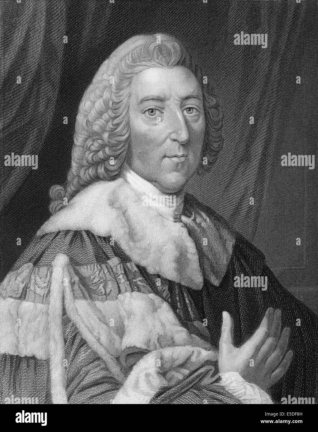 Steel engraving, c. 1860, William Pitt, 1st Earl of Chatham, 1708 - 1778, Prime Minister of Great Britain - Stock Image