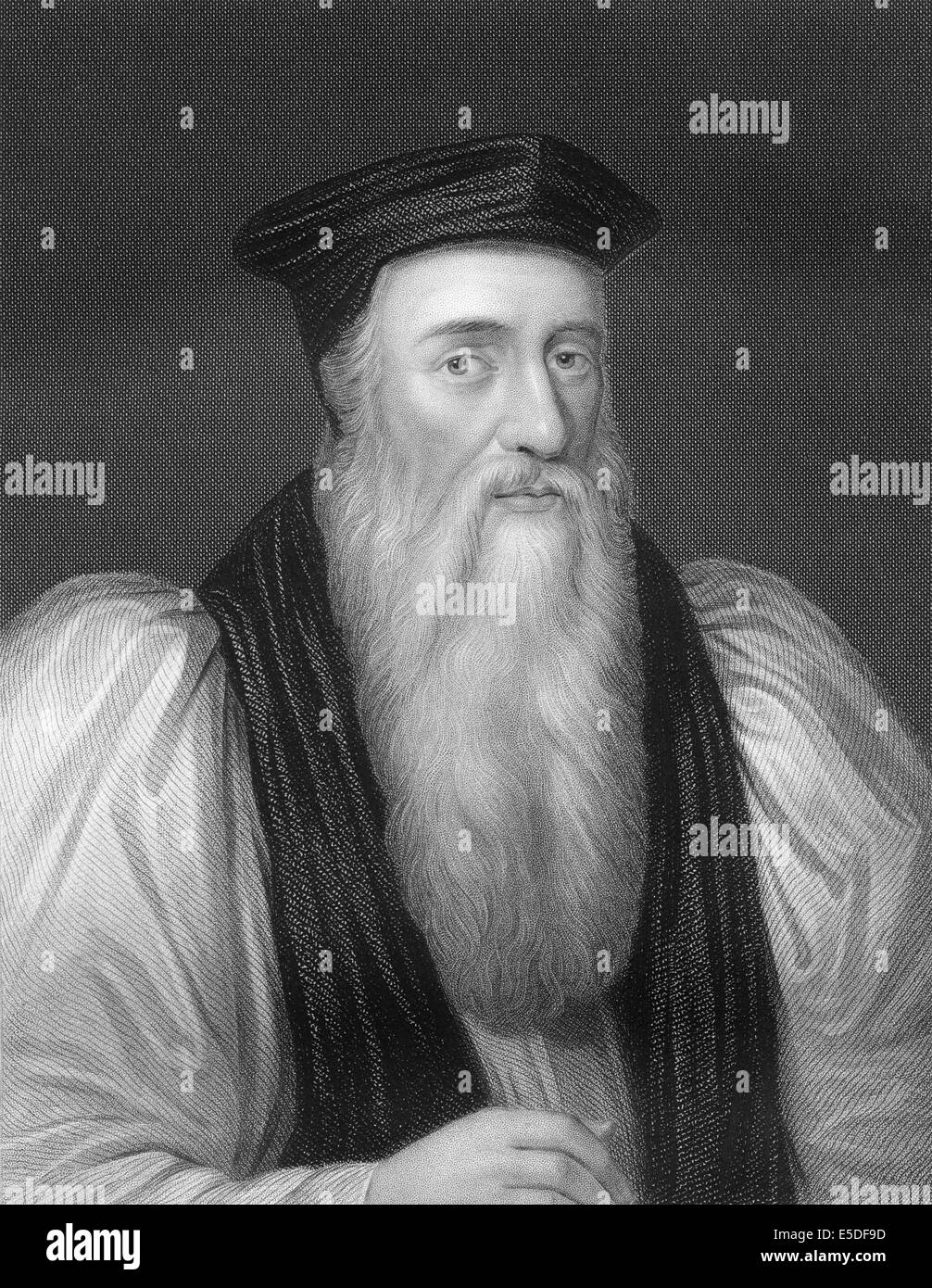 Steel engraving, c. 1860, Thomas Cranmer, 1489-1556, a leader of the English Reformation and Archbishop of Canterbury - Stock Image
