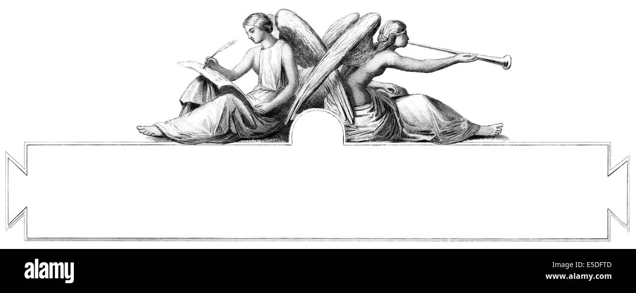 Steel engraving, c. 1860, Allegory with two angels, 19th century, Stock Photo